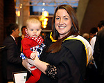 REPRO FREE<br /> 19/01/2015<br /> Helen Leddy from Redhills, Co. Cavan who graduated with Masters in International Tourism at the University of Limerick winter conferring ceremony.  Pictured here with niece Alyssa (aged 7 months).<br /> As the University of Limerick commences three days of Winter conferring ceremonies which will see 1831 students conferring, including 74 PhDs, UL President, Professor Don Barry highlighted the increasing growth in demand for UL graduates by employers and the institution&rsquo;s position as Sunday Times University of the Year. <br /> Pic: Don Moloney/Press 22