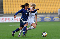 Japan&rsquo;s Emi Nakajima and Ferns&rsquo; Rosie White in action during the  International Football - Football Ferns v Japan  at Westpac Stadium, Wellington, New Zealand on Sunday 10 June 2018.<br /> Photo by Masanori Udagawa. <br /> www.photowellington.photoshelter.com