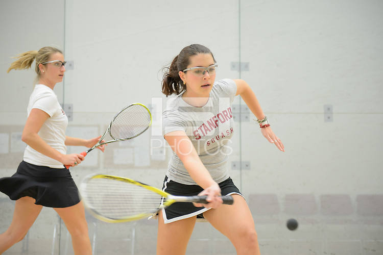 Stanford, California, 12-04-2013-  Ally Huchro and Julia Olson of Stanford Squash 2013.