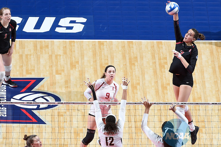COLUMBUS, OH - DECEMBER 17:  Ivana Vanjak (7) of Stanford University spikes the ball against the University of Texas during the Division I Women's Volleyball Championship held at Nationwide Arena on December 17, 2016 in Columbus, Ohio.  Stanford defeated Texas 3-1 to win the national title. (Photo by Jamie Schwaberow/NCAA Photos via Getty Images)
