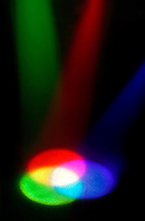 MIXING LIGHT PRIMARIES TO MAKE WHITE LIGHT<br /> (Variations Available)<br /> Additive color mixing based on light perception <br /> Red, blue and green projected light overlap  to form the secondary colors, cyan, magenta and yellow and result in white light where all three overlap.