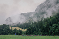 peloton moving through the valley<br /> <br /> Stage 4: Gansingen &gt; Gstaad (189km)<br /> 82nd Tour de Suisse 2018 (2.UWT)