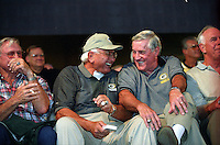 Former Green Bay Packers Fuzzy Thurston and Jimmy Taylor are enjoying themselves at the Lombardi Legends reunion in downtown Green Bay in September of 2001.