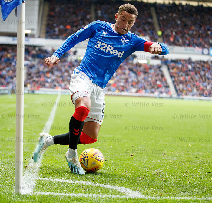 06.10.2019 Rangers v Hamilton: Rangers captain James Tavernier keeps the ball in play at a corner