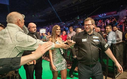 09.04.2015. Sheffield, England. Betway Premier League Darts. Matchday 10.  James Wade [ENG] arrives on the stage for his game with Adrian Lewis [ENG]