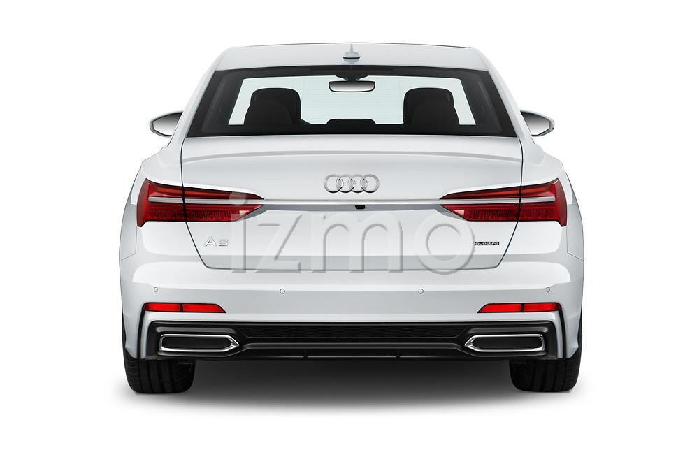 Straight rear view of a 2019 Audi A6 Premium Plus 4 Door Sedan stock images