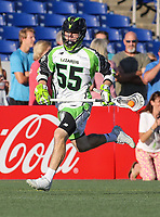 Annapolis, MD - July 7, 2018: New York Lizards Joel Tinney (55) running with the ball during the game between New York Lizards and Chesapeake Bayhawks at Navy-Marine Corps Memorial Stadium in Annapolis, MD.   (Photo by Elliott Brown/Media Images International)
