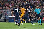 Atletico de Madrid's Saul Ñiguez and Augusto Fernandez and FC Barcelona Neymar during Champions League 2015/2016 Quarter-Finals 2nd leg match. April 13, 2016. (ALTERPHOTOS/BorjaB.Hojas)