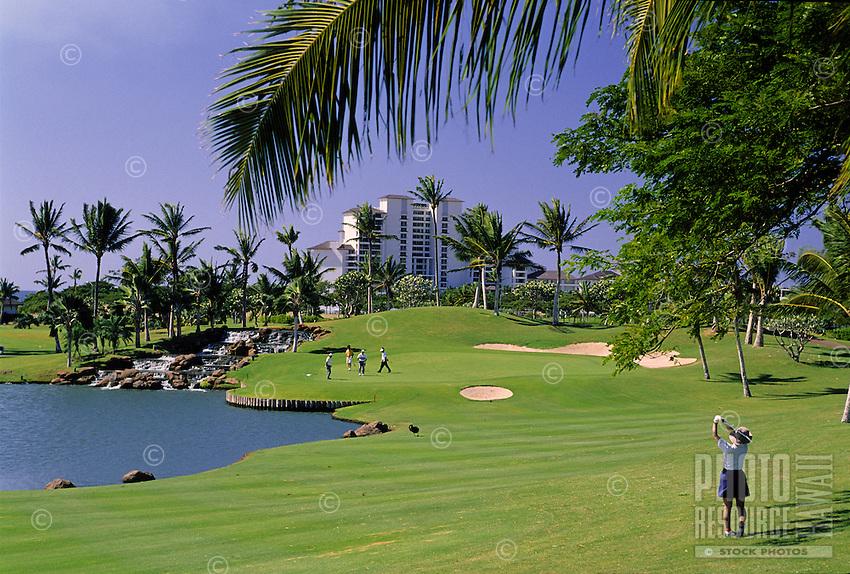 Golfers at the Ko Olina Golf Course, West Oahu