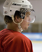 Colin Long (US White - 10) - US players take part in practice on Friday morning, August 8, 2008, in the NHL Rink during the 2008 US National Junior Evaluation Camp and Summer Hockey Challenge in Lake Placid, New York.