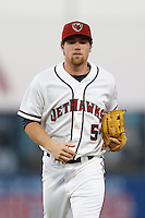 Nolan Fontana #5 of the Lancaster JetHawks in the field against the Bakersfield Blaze on April 20, 2013 at The Hanger in Lancaster, California. (Larry Goren/Four Seam Images)