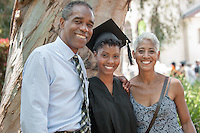 Jordon Puryear '12 (art history and the visual arts, Burbank, Calif.) with her parents Milton and Charla Puryear. Photo from Occidental College's 125th anniversary Commencement on May 20, 2012. (Photo by Marc Campos, Occidental College Photographer)
