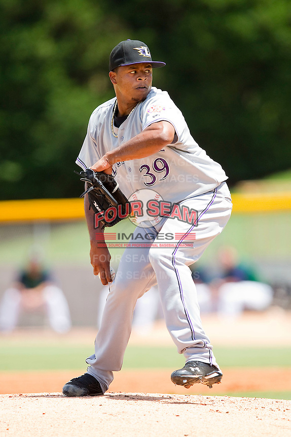 Starting pitcher Edison Volquez #39 of the Louisville Bats in action against the Charlotte Knights at Knights Stadium on July 17, 2011 in Fort Mill, South Carolina.  The Knights defeated the Bats 7-6.   (Brian Westerholt / Four Seam Images)