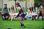 "August 20, 2012; Actress Victoria Flees as Puck performs in the Shakespeare play, ""A Midsummer Night's Dream"" on the Main Building Quad. Photo by Barbara Johnston/University of Notre Dame"