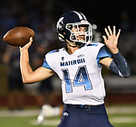 Mater Dei quarterback Reed Braundmeier looks for an open receiver. Mater Dei played football at Althoff on Friday September 13, 2019. <br /> Tim Vizer/Special to STLhighschoolsports.com