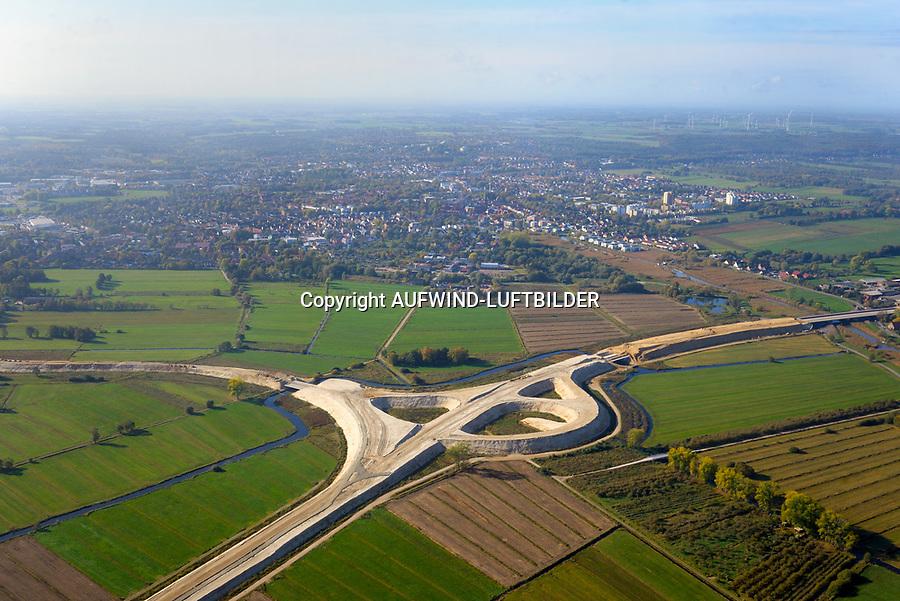 Autobahnbaustelle A26 bei Buxtehude: EUROPA, DEUTSCHLAND, NIEDERSACHSEN, BUXTEHUDE (EUROPE, GERMANY), 19.10.2018: Autobahnbaustelle A26 bei Buxtehude,