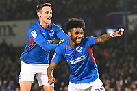 Correction: Ellis Harrison of Portsmouth celebrates his assist to allow John Marquis of Portsmouth to make the score 2-1  during Portsmouth during Portsmouth vs Rotherham United, Sky Bet EFL League 1 Football at Fratton Park on 26th November 2019