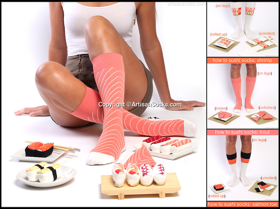 BNPS.co.uk (01202 558833)<br /> Pic: ArtisanSocks/BNPS<br /> <br /> ***Must Use Full Byline***<br /> <br /> Soft Sushi Shuffle...<br /> <br /> A disagram showing how to make your sushi socks look life-like. <br /> <br /> Now, should you wish to, you can make your sock draw look like a sushi bar.<br /> <br /> These morsels of mouthwatering sushi might look tantalising but you wouldn't want to eat them - because they're actually rolled up socks.<br /> <br /> The super-realistic items of clothing are the latest bizarre trend sweeping the fashion world and have been an instant hit with shoppers.<br /> <br /> Unrolled they look like any other sock but rolled up they form seven different varieties of the raw fish snack, transforming your underwear drawer into a smorgasbord of sushi.<br /> <br /> The life-like 'flavours' include egg (tamago), salmon roe (ikura), shrimp (ebi), octopus (tako), tuna (maguro ), salmon (sa-mon) and trout (masuzishi).<br /> <br /> Sushi socks cost $6 a pair - around £3.70 - and can be bought from artisansocks.com.