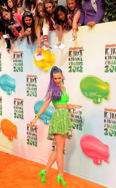 WWW.ACEPIXS.COM . . . . .  ....March 31 2012, LA....Singer Katy Perry arriving at Nickelodeon's 25th Annual Kids' Choice Awards at Galen Center on March 31, 2012 in Los Angeles, ....Please byline: PETER WEST - ACE PICTURES.... *** ***..Ace Pictures, Inc:  ..Philip Vaughan (212) 243-8787 or (646) 769 0430..e-mail: info@acepixs.com..web: http://www.acepixs.com