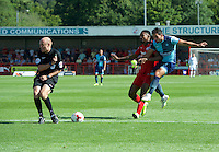 Referee Nick Tinselly turns away from a shot by Sam Wood of Wycombe Wanderers during the Sky Bet League 2 match between Crawley Town and Wycombe Wanderers at Broadfield Stadium, Crawley, England on 6 August 2016. Photo by Alan  Stanford / PRiME Media Images.
