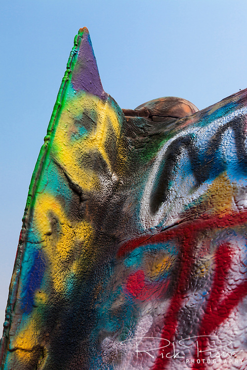 Tailfin of a Cadillac reached skyward at the Cadillac Ranch in Texas.