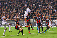 Kopfball Lamine Kone (Racing Club de Strasbourg Alsace) - 29.08.2019: Eintracht Frankfurt vs. Racing Straßburg, UEFA Europa League, Qualifikation, Commerzbank Arena<br /> DISCLAIMER: DFL regulations prohibit any use of photographs as image sequences and/or quasi-video.