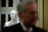 A bust of former President Richard Nixon is seen behind United States Representative Mark Meadows (Republican of North Carolina) as he speaks to members of the media in the Ohio Clock Corridor at the United States Capitol in Washington D.C., U.S., on Tuesday, January 21, 2020, during a recess of the United States Senate impeachment trial against United States President Donald J. Trump.<br /> <br /> Credit: Stefani Reynolds / CNP
