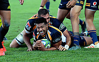 Brumbies hooker Folau Fainga'a scores during the Super Rugby match between the Hurricanes and Brumbies at CET Arena in Palmerston North, New Zealand on Friday, 1 March 2019. Photo: Dave Lintott / lintottphoto.co.nz