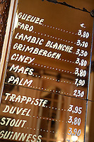 Belgium, Province Brabant, Brussels: Beer menu inside the bar La Morte Subite