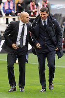 Rayo Vallecano´s coach Paco Jemez and Malaga CF´s coach Javier Gracia Carlos during 2014-15 La Liga match between Rayo Vallecano and Malaga CF at Rayo Vallecano stadium in Madrid, Spain. March 21, 2015. (ALTERPHOTOS/Luis Fernandez) <br /> Football Calcio 2014/2015<br /> La Liga Spagna<br /> Foto Alterphotos / Insidefoto