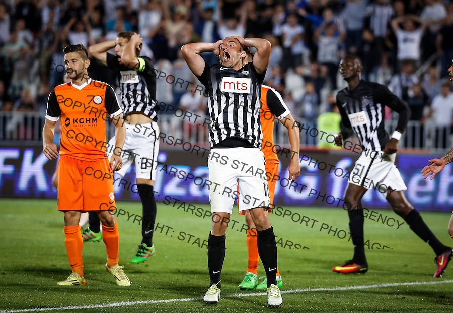 Fudbal UEFA Europa League season 2016-2017<br /> Second qualifying round, First leg<br /> Partizan v Zaglebje<br /> Miroslav Radovic (R) and Darko Brasanac (L) react<br /> Beograd, 14.07.2016.<br /> foto: Srdjan Stevanovic/Starsportphoto &copy;