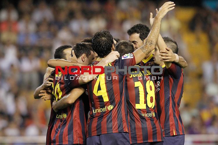 FC Barcelona's players celebrate goal during La Liga match.September 1,2013. Foto © nph / Acero)
