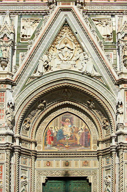 The main central door ( Porta Maggiore ) mosaic and the fine Gothic architectural detail of  the  of the Gothic-Renaissance Duomo of Florence,  Basilica of Saint Mary of the Flower; Firenza ( Basilica di Santa Maria del Fiore ).  Built between 1293 & 1436. Italy