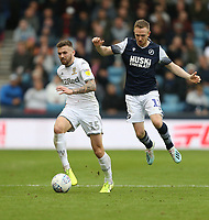 Leeds United's Stuart Dallas and Millwall's Shane Ferguson<br /> <br /> Photographer Rob Newell/CameraSport<br /> <br /> The EFL Sky Bet Championship - Millwall v Leeds United - Saturday 5th October 2019 - The Den - London<br /> <br /> World Copyright © 2019 CameraSport. All rights reserved. 43 Linden Ave. Countesthorpe. Leicester. England. LE8 5PG - Tel: +44 (0) 116 277 4147 - admin@camerasport.com - www.camerasport.com