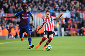 18th March 2018, Camp Nou, Barcelona, Spain; La Liga football, Barcelona versus Athletic Bilbao; Ousmane Dembele of FC Barcelona beaten by the cross from Enric Saborit of Athletic Bilbao