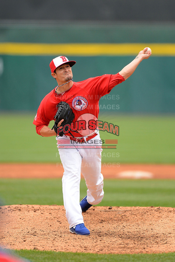 Buffalo Bisons pitcher Alex Hinshaw #44 during a game against the Norfolk Tides on May 9, 2013 at Coca-Cola Field in Buffalo, New York.  Norfolk defeated Buffalo 7-1.  (Mike Janes/Four Seam Images)