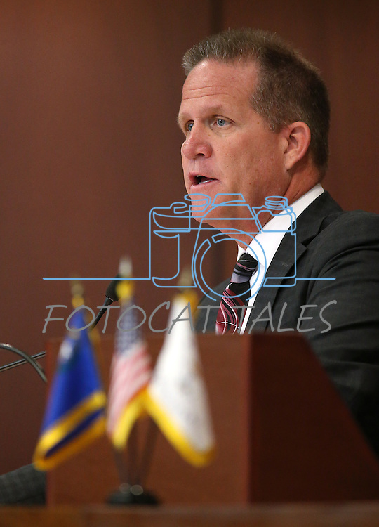 Nevada Lt. Gov. Mark Hutchison presides over a Senate floor session at the Legislative Building in Carson City, Nev., on Tuesday, April 7, 2015. <br /> Photo by Cathleen Allison