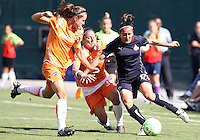Lisa De Vanna #17 of Washington Freedom breaks past Julianne Sitch #38 of Blue FC during a WPS match at RFK Stadium on May 23, 2009 in Washington D.C.
