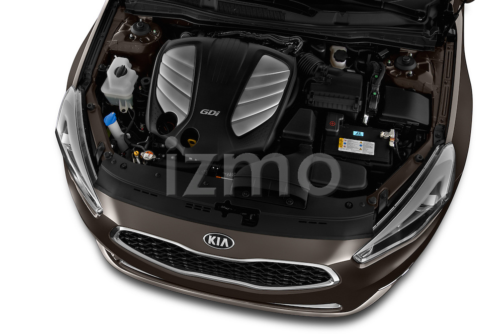High angle engine detail of a  2014 KIA Cadenza Sedan