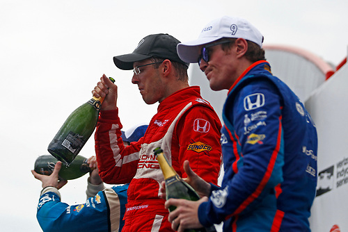 2017 Verizon IndyCar Series - Firestone Grand Prix of St. Petersburg<br /> St. Petersburg, FL USA<br /> Sunday 12 March 2017<br /> Sebastien Bourdais, Simon Pagenaud and Scott Dixon celebrate on the podium<br /> World Copyright: Phillip Abbott/LAT Images<br /> ref: Digital Image lat_abbott_stp_0317_12875