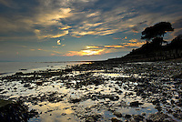Sunset over the south coast at Lepe Country Park, Hampshire