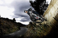 Neil Donoghue wallride..Near Bubion , Alpujarra region , Spain ,  March 2007..pic copyright Steve Behr / stockfile