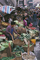 The stallholders in the streets around Hong Kong Central's market offer a wide variety of fresh vegetables.