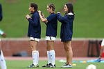 22 September 2016: Notre Dame's Lexi Dakin, Kaleigh Olmsted (27), Sandra Yu (16). The North Carolina State University Wolfpack hosted the University of Notre Dame Fighting Irish at Dail Soccer Field in Raleigh, North Carolina in a 2016 NCAA Division I Women's Soccer match. Notre Dame won the game 1-0.