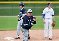 NWA Democrat-Gazette/CHARLIE KAIJO Har-Ber High School head coach Ron Bradley reacts during the 6A State Baseball Tournament, Thursday, May 9, 2019 at Veterans Park in Rogers. Har-Ber High School beat Conway High School 6-5