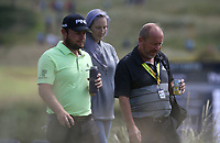 Tyrrell Hatton (ENG) with his Dad during a practice round ahead of the 148th Open Championship, Royal Portrush Golf Club, Portrush, Antrim, Northern Ireland. 16/07/2019.<br /> Picture David Lloyd / Golffile.ie<br /> <br /> All photo usage must carry mandatory copyright credit (© Golffile | David Lloyd)
