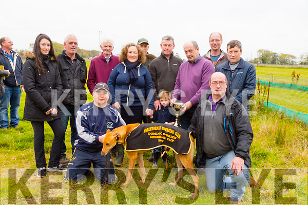 "Drumscara Foxy winner of the The Dominic O'Brien Memorial Cup at Abbeydorney Coursing on Sunday.Pictured L-r Michael Quinn with "" Drumscara Foxy"" and Tommy Clifford. L-r  Caitlyn Cashman, Billy Cashman, Johnny Carroll, Juliette O'Brien, Cian O'Brien, Patrick O'Brien, Matthew Donovan, Tommy Clifford, Thomas Ward and Eugene O'Brien"