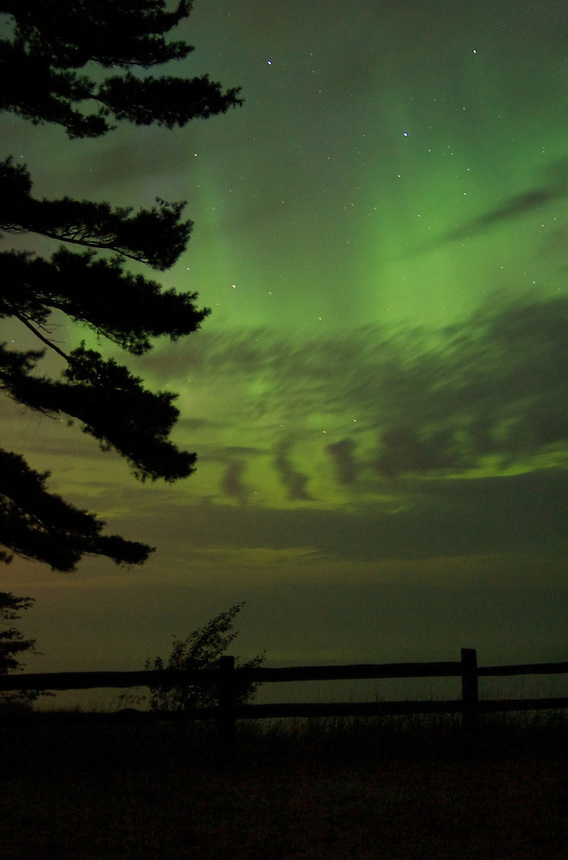 The Northern Lights on a summer evening. Marquette, MI