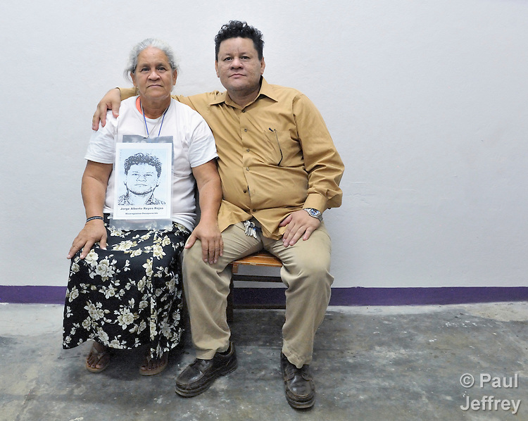 Santos del Socorro Rojas and her son Jorge Alberto Reyes Dávila, with whom she was reunited on December 16, 2013, in Tapachula, Mexico, after nine years of separation. Rojas, from Chinandega, Nicaragua, was one of several dozen Central American mothers who traveled as a group to Mexico to look for their loved ones who had disappeared along the migrant trail north.