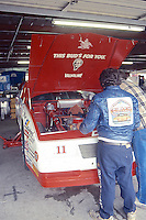 Terry Labonte, #11 Junior Johnson Budweiser Chevrolet, garage area, Daytona 500, Daytona International Speedway, Daytona Beach, Florida, February 15, 1987. (Photo by Brian Cleary/www.bcpix.com)